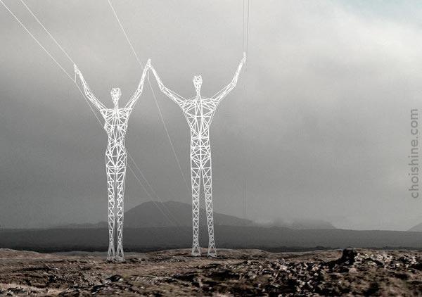 Female and male pylon-figures