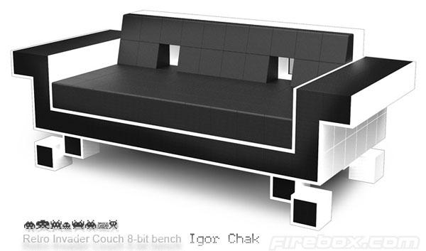"""Sofa retro de lujo, inspirado en """"Los Invasores del Espacio"""""""