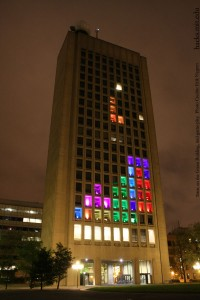 Tetris on the Green Building, mid-game-play.