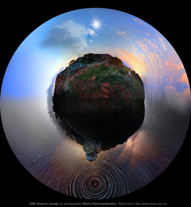 Panorámica de 360 grados, es una proyección estereográfica realizada por el fotógrafo Cris Kotsiopoloulos.