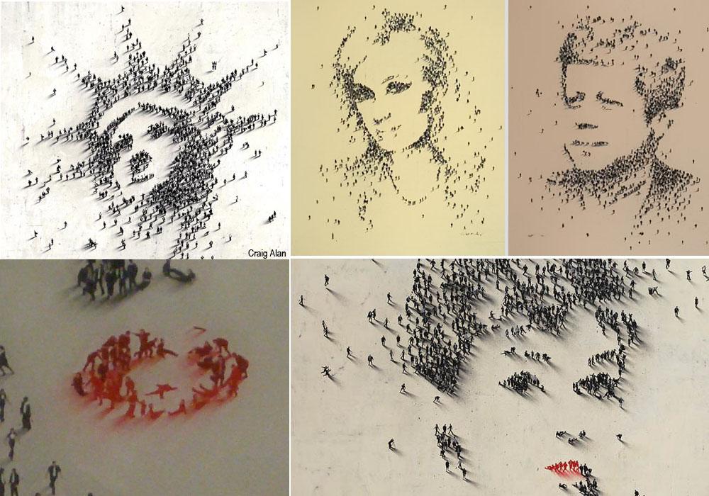Impresionantes retratos, casi minimalistas, creados por Craig Alan con una multitud de personas.