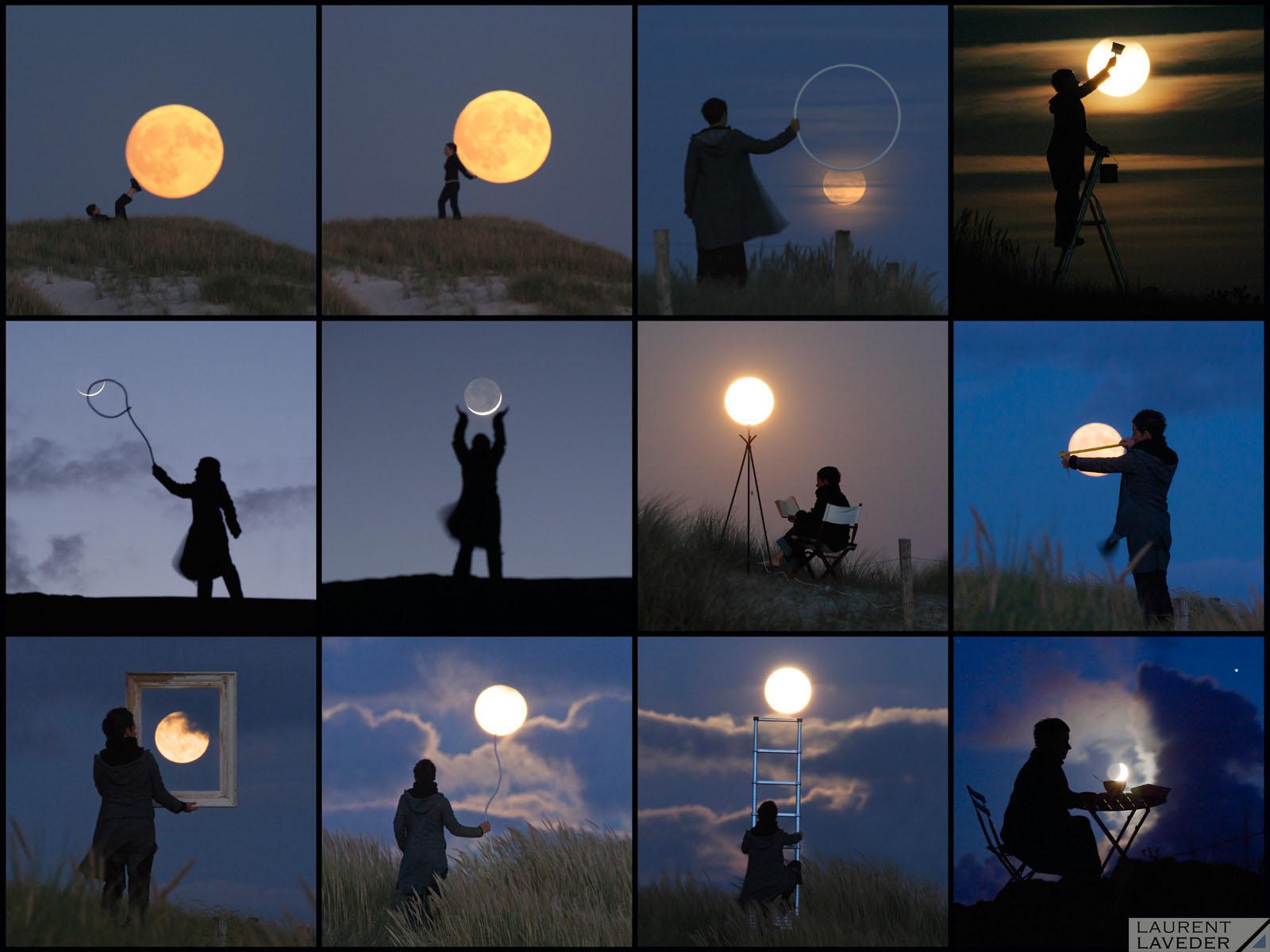 Un personnage tente de monter sur la Pleine Lune à l'aide d'une échelle.