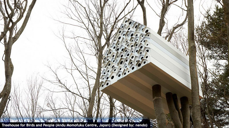 Treehouse for Birds and People (Andu Momofuku Centre, Japan)