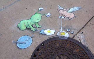 Dibujos en la calle.
